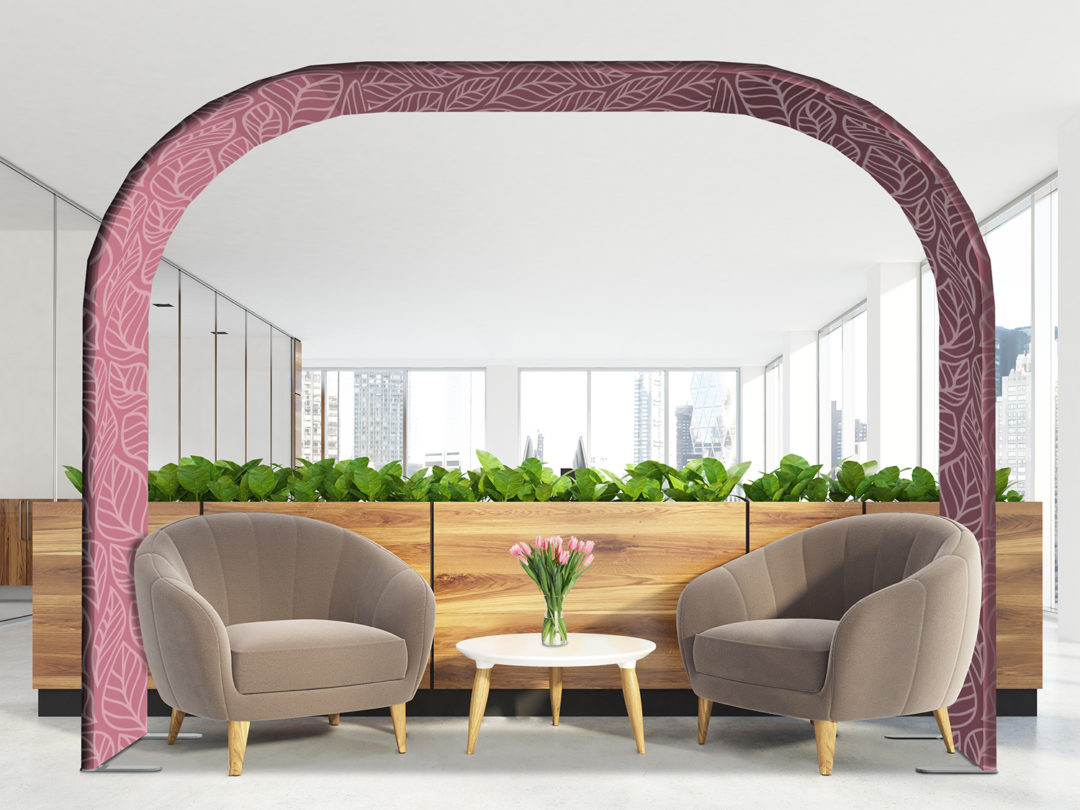 Modern office waiting area with beige armchairs, a coffee table, glass wall offices and a flower bed. 3d rendering mock up