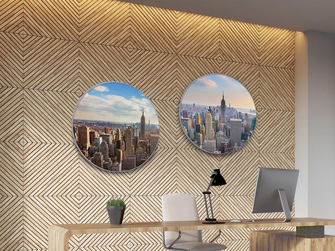 Boss's desk with workstation, bookshelves, wooden decorative pattern and vertical poster on white wall. Concept of successful business. 3d rendering, mock up