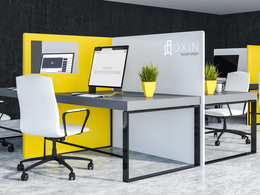 Corner of office with black walls and concrete floor and white and yellow cubicles with gray computer tables and white chairs. 3d rendering
