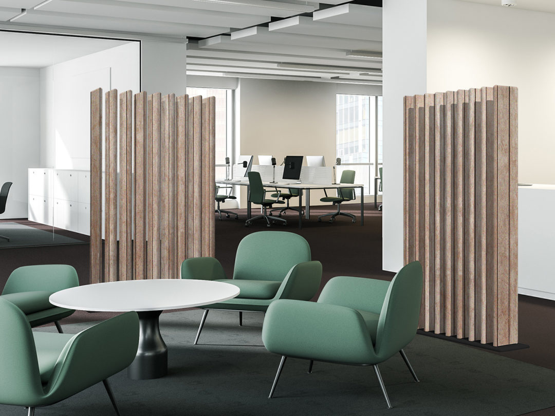 Interior of modern office with white walls, brown floor, waiting room with green armchairs near coffee table, reception counter and meeting room with open space office in background. 3d rendering